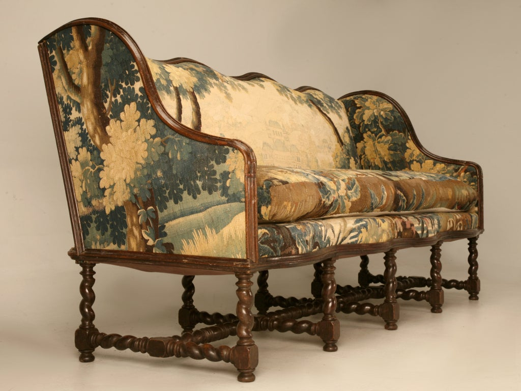 Original Antique French Louis XIII Sofa with Earlier Aubusson Upholstery In Good Condition In Chicago, IL