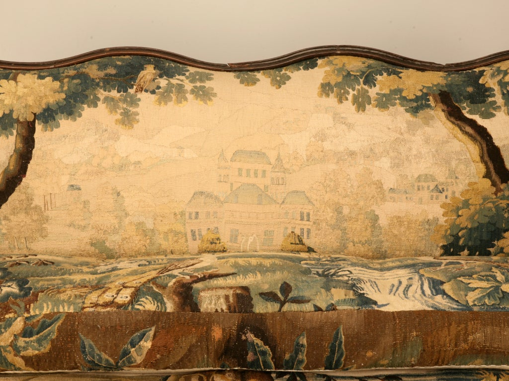 18th Century and Earlier Original Antique French Louis XIII Sofa with Earlier Aubusson Upholstery
