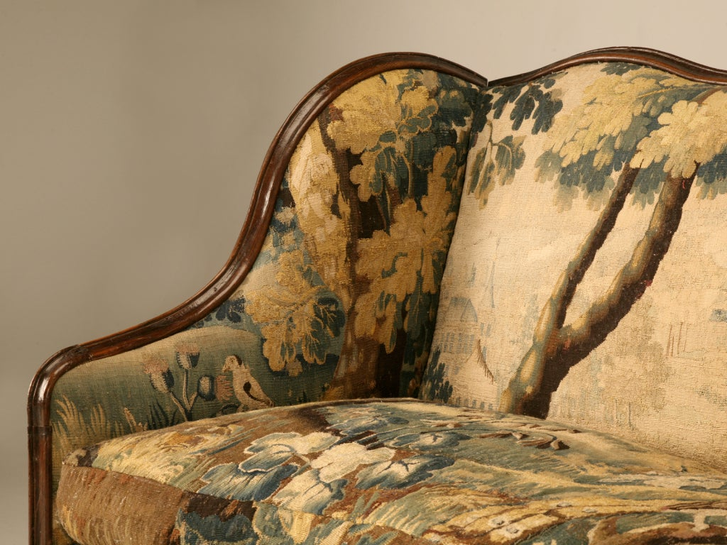 Original Antique French Louis XIII Sofa with Earlier Aubusson Upholstery 2