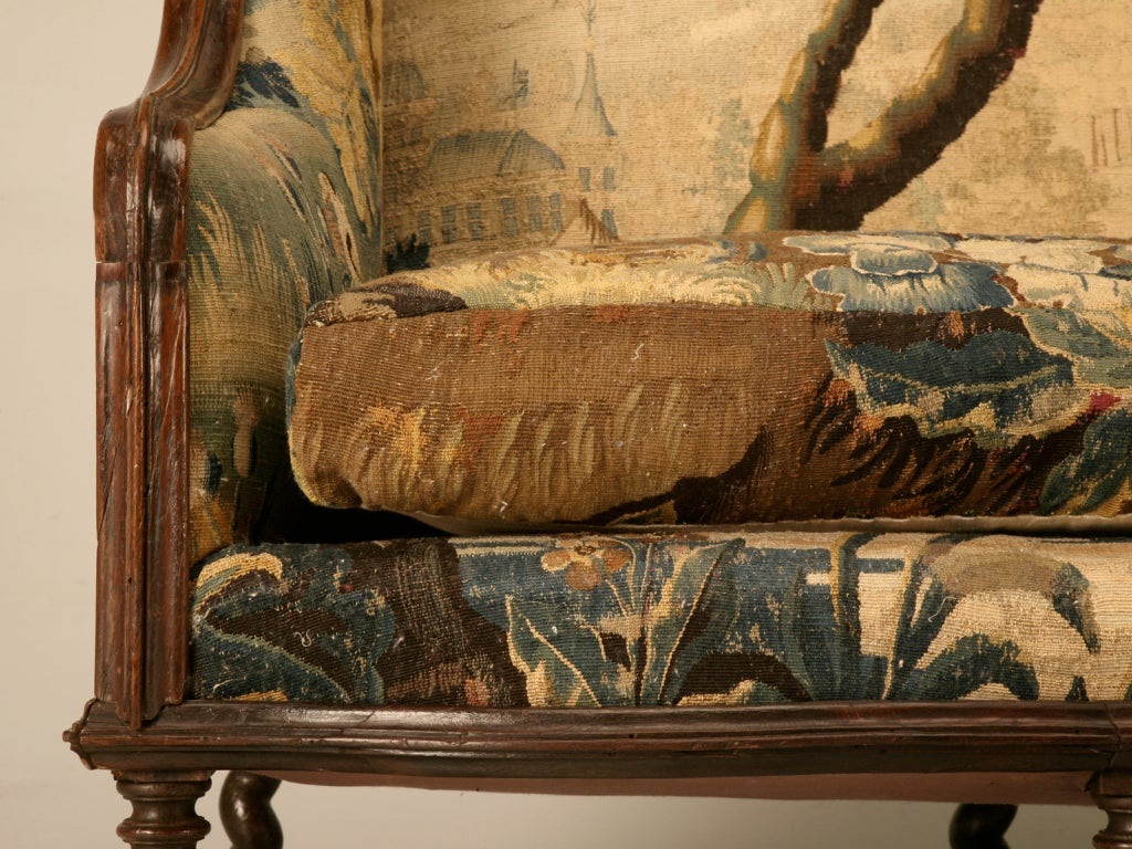 Original Antique French Louis XIII Sofa with Earlier Aubusson Upholstery 3