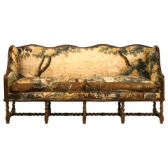 Original Antique French Louis XIII Sofa with Earlier Aubusson Upholstery