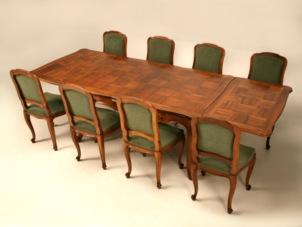Extra large vintage italian rococo walnut draw leaf dining for Dining room table with extra leaves