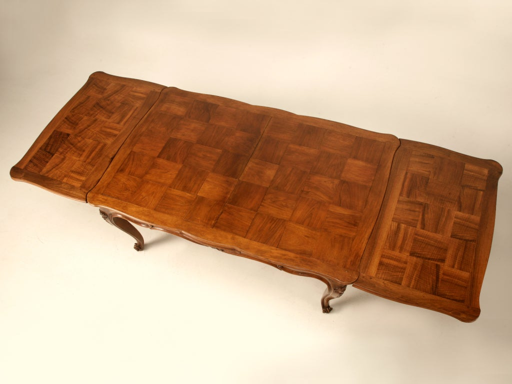 Extra Large Vintage Italian Rococo Walnut Draw Leaf Dining Table Image