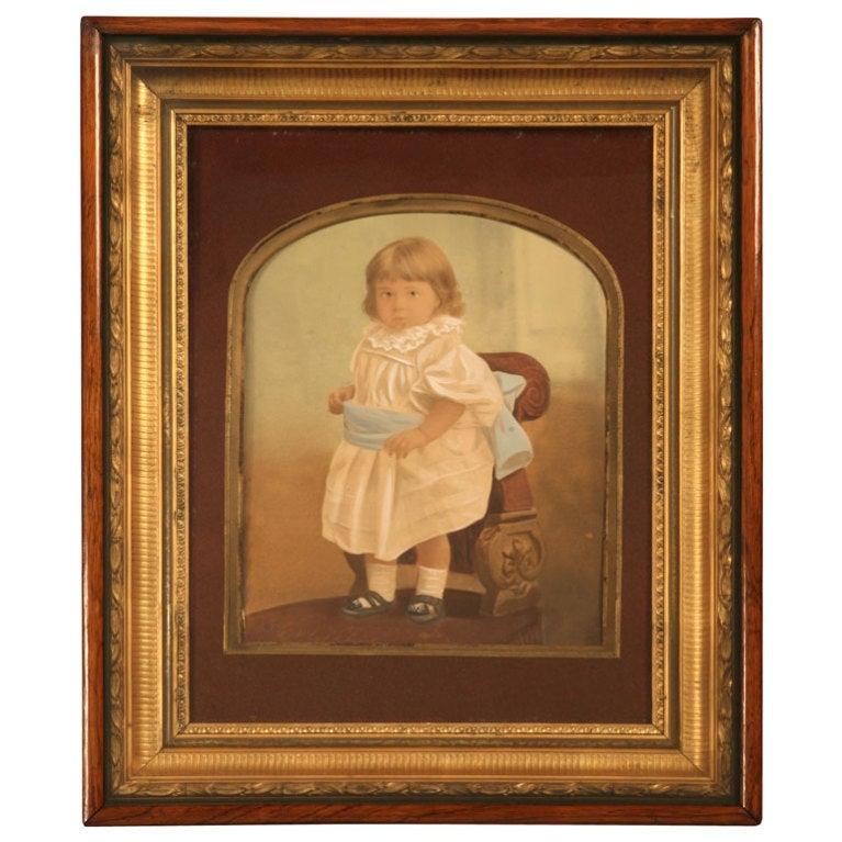 Antique American Victorian Painted Portrait In Original