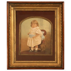 Antique American Victorian Painted Portrait in Original Frame