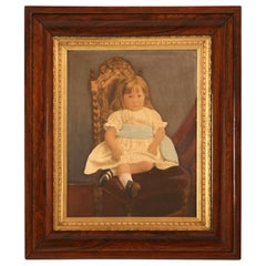 "Original Painting on Board of ""A Girl with Blue Sash Ribbon"""