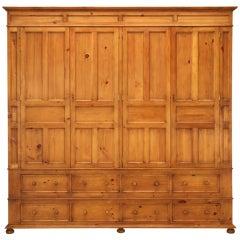 Handsome Handmade English Pine 4 Door over 8 Drawer Cupboard