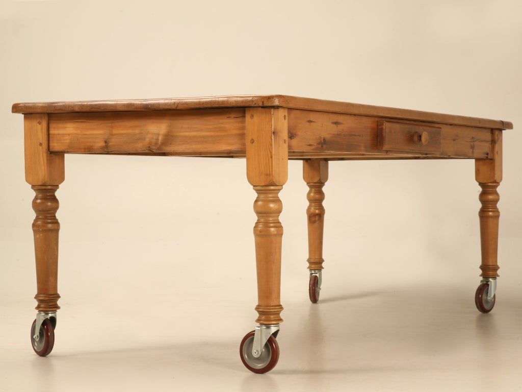 Rustic 84 Quot Handmade English Pine Table With Drawer And