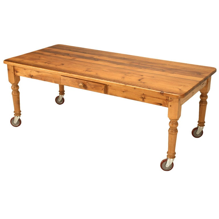 """Industrial Coffee Table On Wheels At 1stdibs: Rustic 84"""" Handmade English Pine Table With Drawer And"""