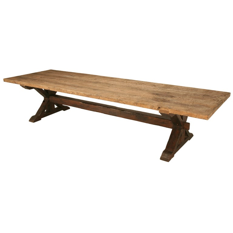 12 Foot Handmade French Style Authentic Solid Weathered White Oak Trestle  Table 1