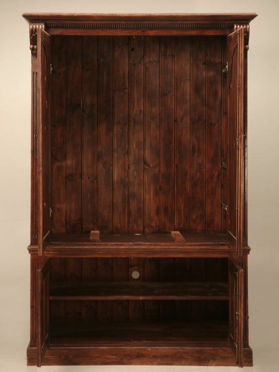 Incredible Vintage English Solid Pine Entertainment Center
