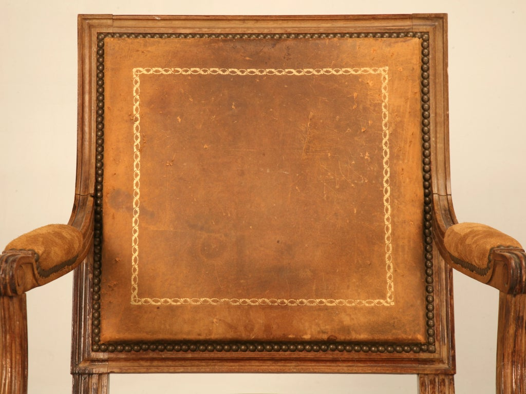 Spectacular antique french louis xvi arm chair w original leather at