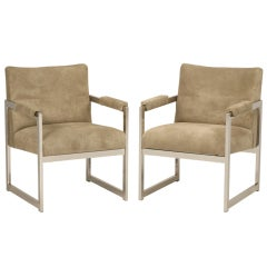 Incredible Pair of Milo Baughman for Thayer Coggin Square Chairs, Suede Leather