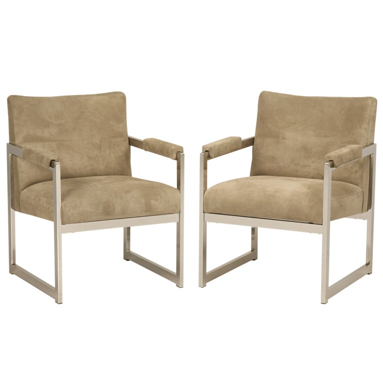 Incredible Pair Square Chairs, Suede Leather