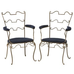Original Pair-French 40's Wrought Iron Fauteuils att to René Prou