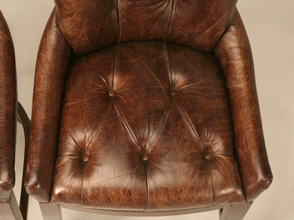 Amazing Set Of 4 Vintage French Casino Tufted Leather Bar