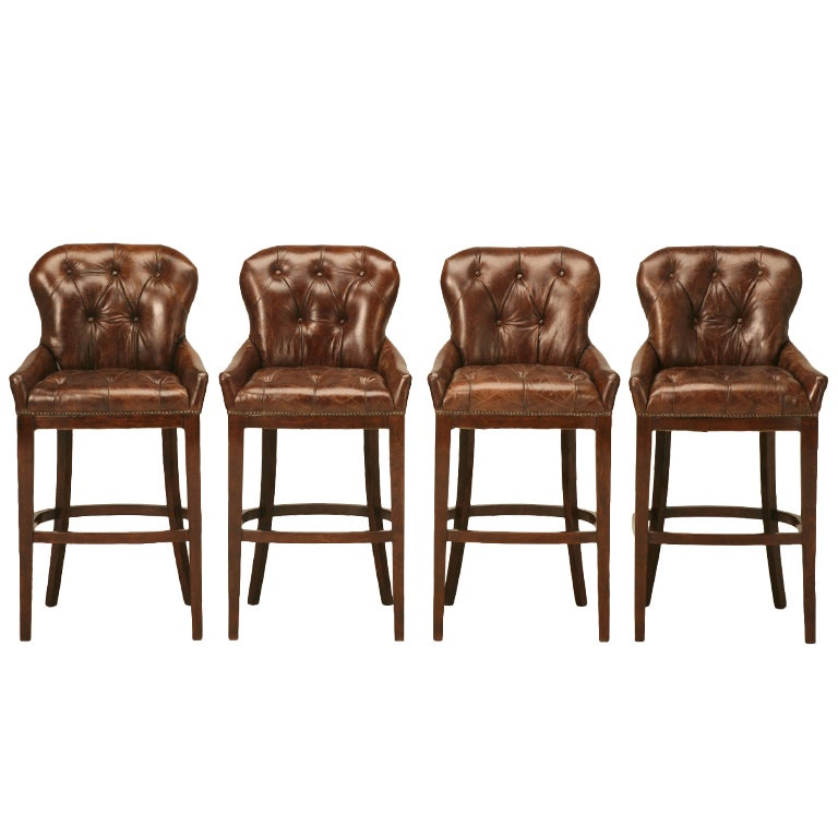 Amazing Set Of 4 Vintage French Casino Tufted Leather Bar