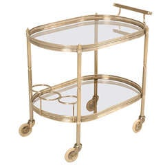 Vintage French 1940's Silver Plated Brass Two Tier Tea/Bar/Dessert Cart
