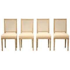 French Louis XVI Style Set of Four Painted Side Chairs, circa 1930
