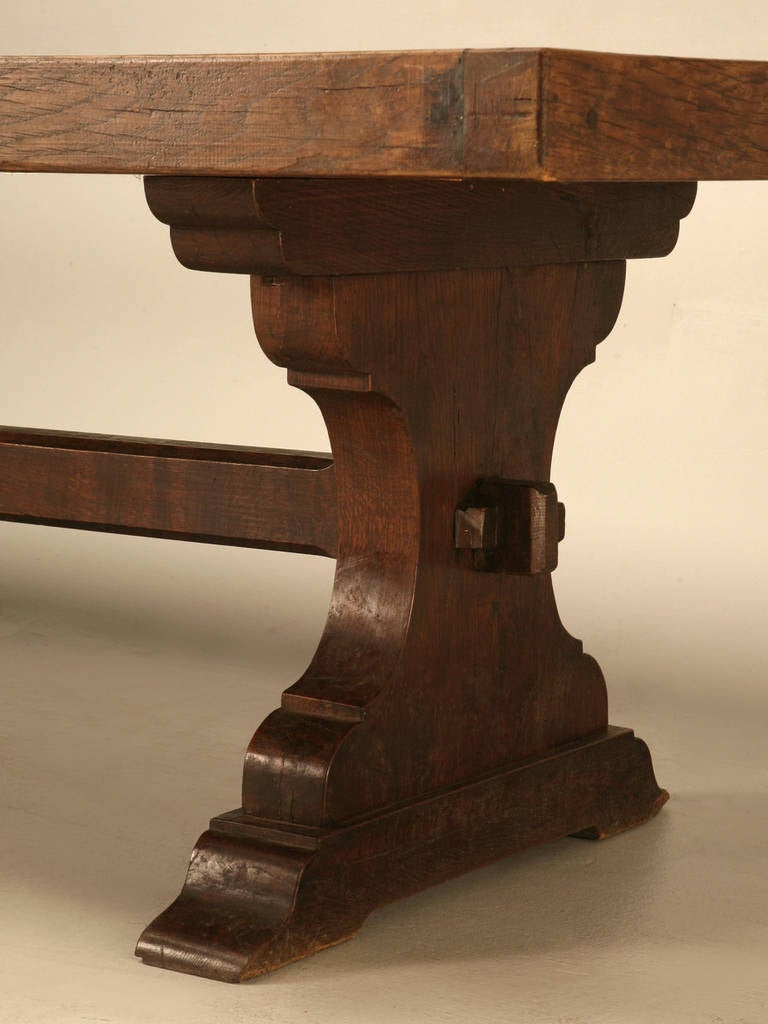 French Solid White Oak Trestle Table At 1stdibs
