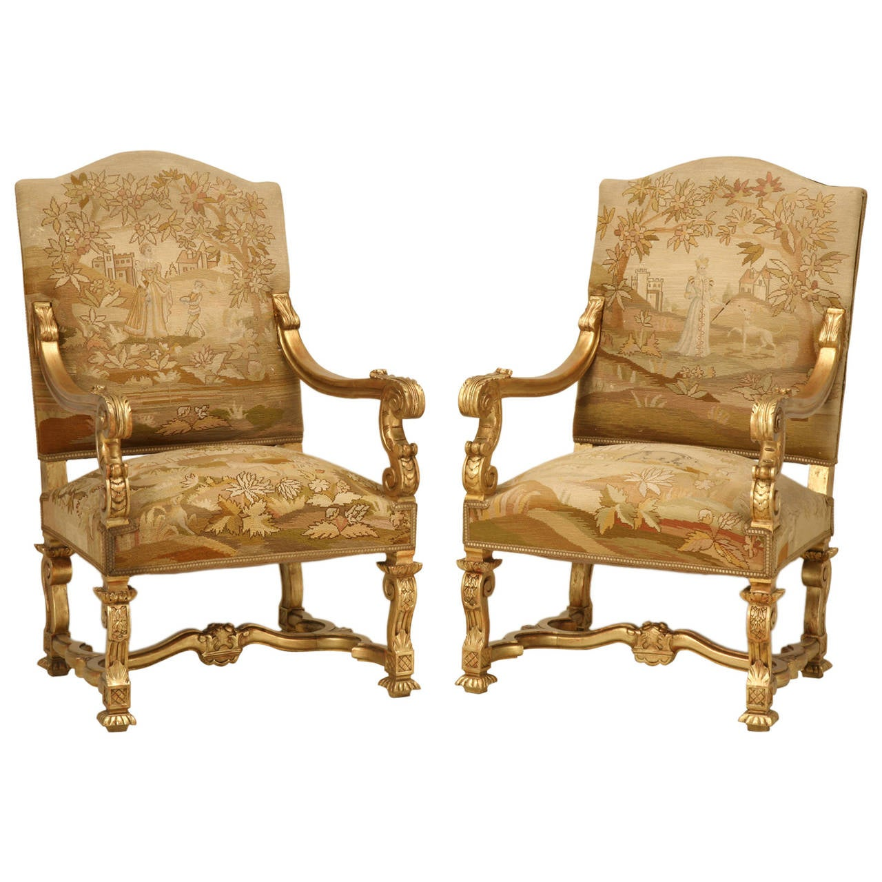 Inexpensive Antique Furniture: Antique French Gilded Throne Chairs, Circa 1900 At 1stdibs