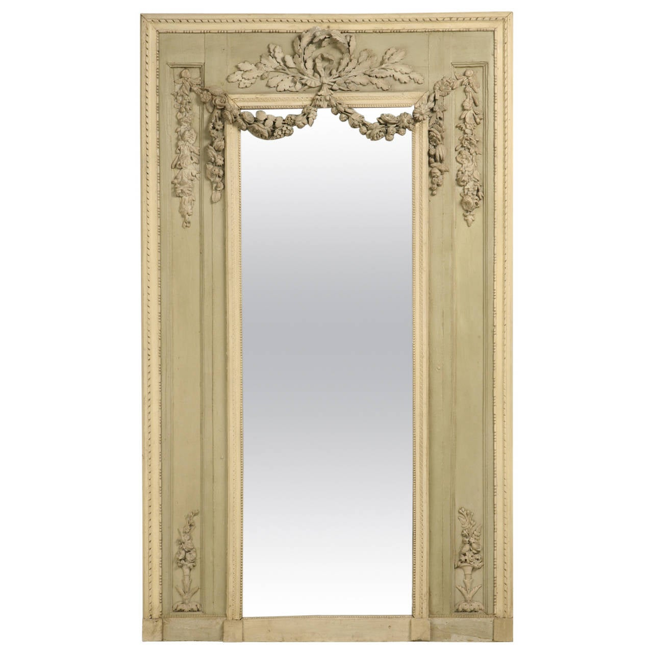 antique french original painted mirror with rose and leaf relief for