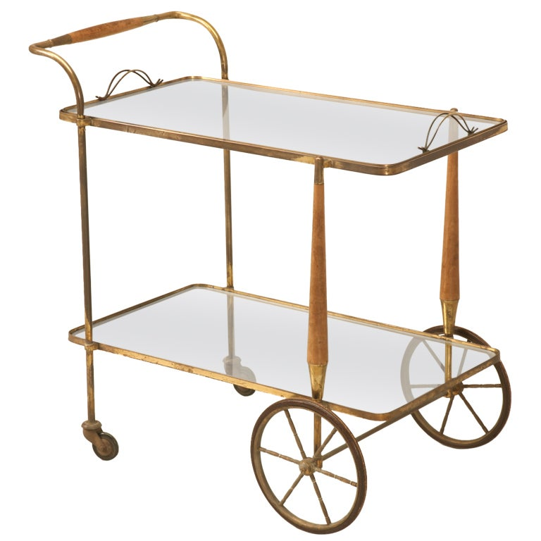 Fabulous Original 1940s French Moderne Tea, Bar or Dessert Cart For Sale