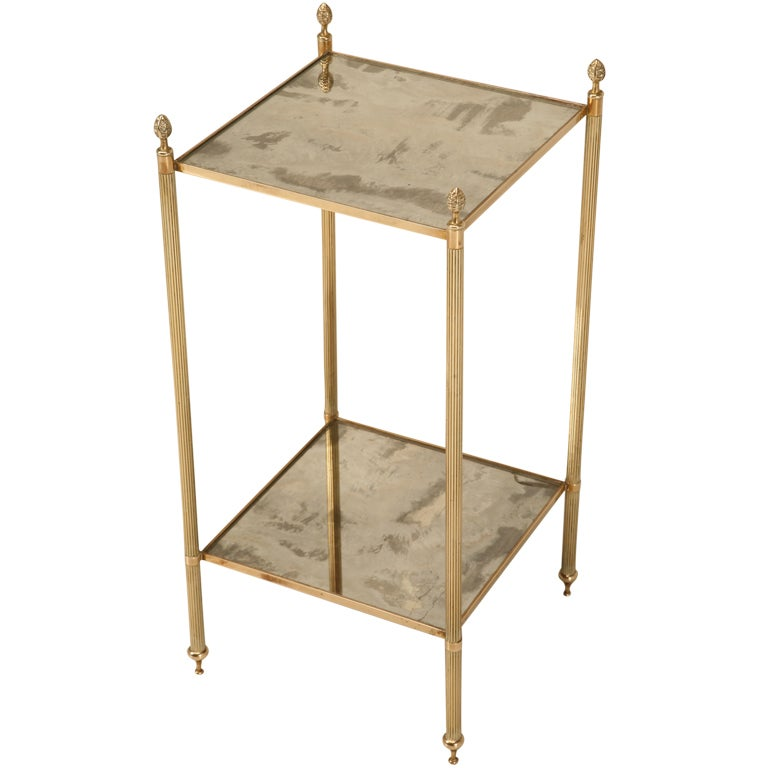 Seductive French 40u0027s Two Tier Aged Mirror End/Side Table For Sale