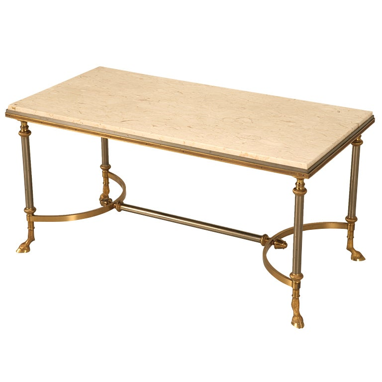 Vintage French Steel And Brass Coffee Table With Great