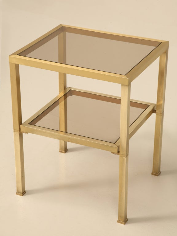 Vintage French Modern Two Tier Brushed Brass U0026 Glass Table 2