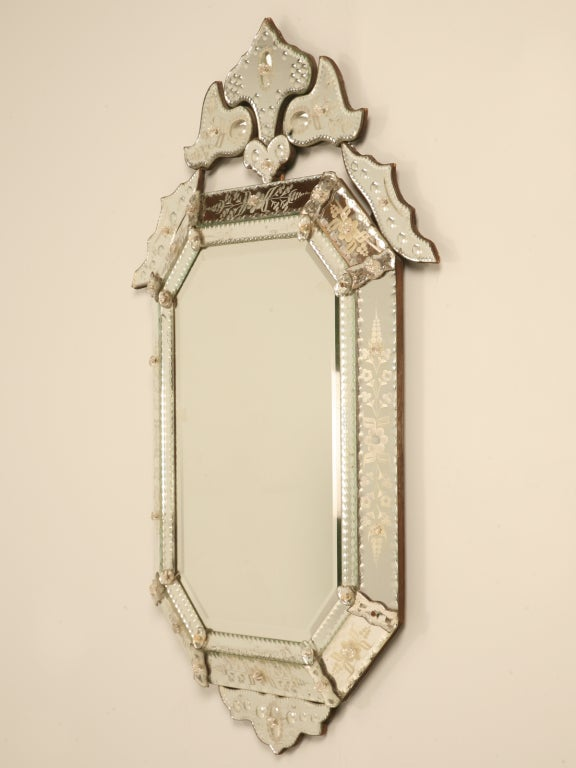 Spectacular Early 20th C. Italian Venetian Mirror w/Canted Corners 2