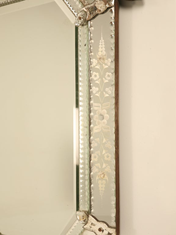 Spectacular Early 20th C. Italian Venetian Mirror w/Canted Corners 6