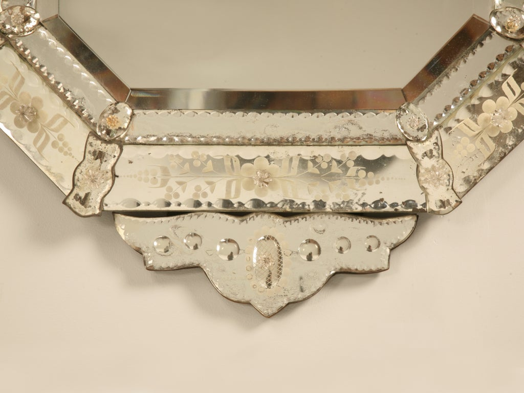 Spectacular Early 20th C. Italian Venetian Mirror w/Canted Corners 8