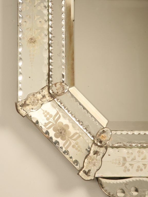 Spectacular Early 20th C. Italian Venetian Mirror w/Canted Corners 9