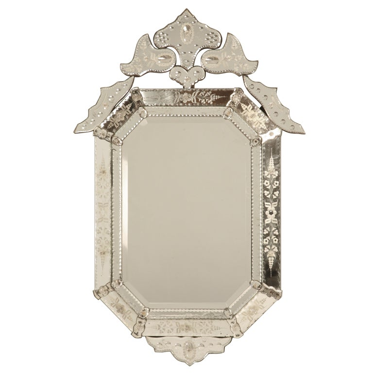 Spectacular Early 20th C. Italian Venetian Mirror w/Canted Corners 1