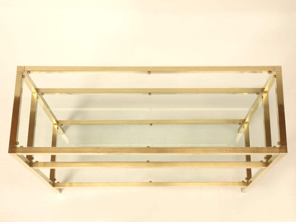 Vintage French Modern 3 Level Brushed Brass And Glass