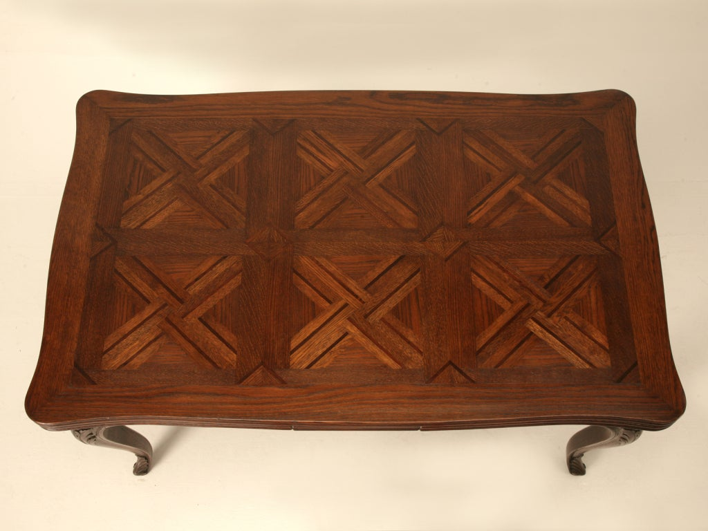 Spectacular Antique Italian Louis XV Oak U0026 Walnut Draw Leaf Table 3