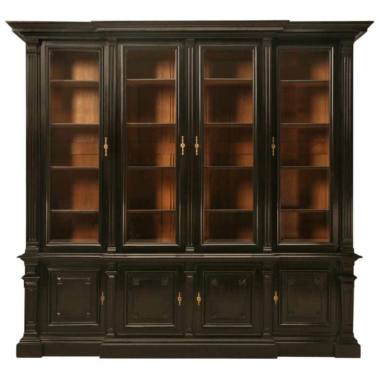 Ebonized Antique French Napoleon Iii Solid Walnut Bookcase
