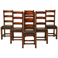 Set of Six Ladderback Side Chairs