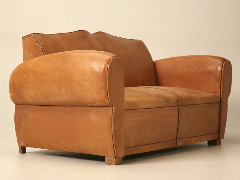 C1930's French Original Leather Moustache Back Settee/Sofa 2