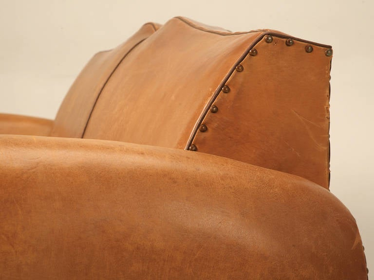 C1930's French Original Leather Moustache Back Settee/Sofa 3