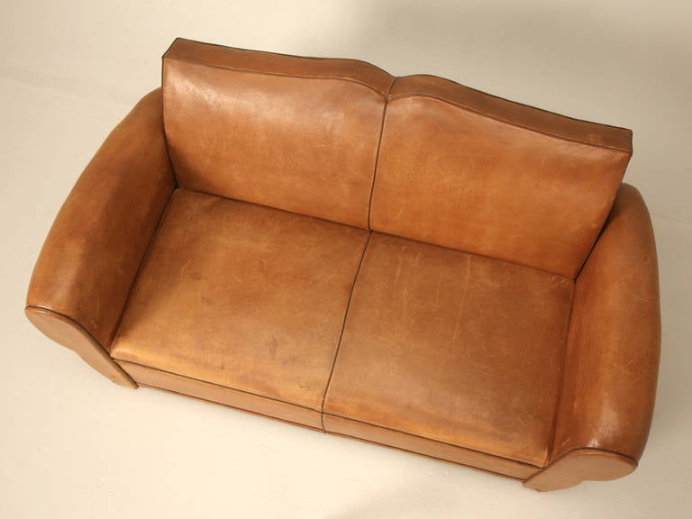 C1930's French Original Leather Moustache Back Settee/Sofa 4