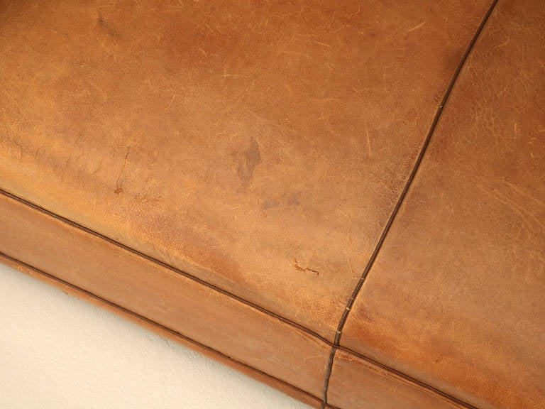 C1930's French Original Leather Moustache Back Settee/Sofa 5