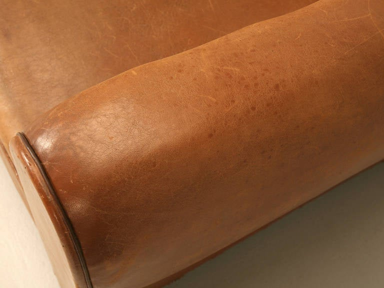 C1930's French Original Leather Moustache Back Settee/Sofa 6