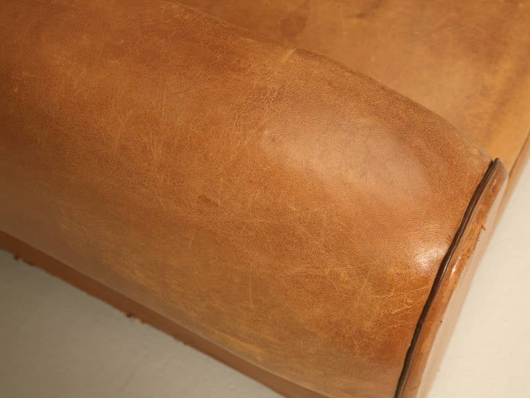 C1930's French Original Leather Moustache Back Settee/Sofa 7