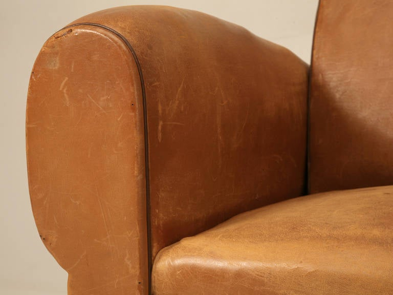 C1930's French Original Leather Moustache Back Settee/Sofa 8