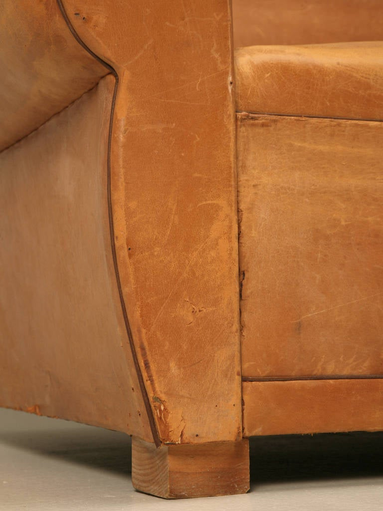 C1930's French Original Leather Moustache Back Settee/Sofa 9