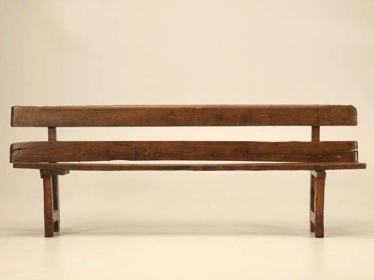 antique french white oak rustic and primitive dining bench w back at 1stdibs. Black Bedroom Furniture Sets. Home Design Ideas