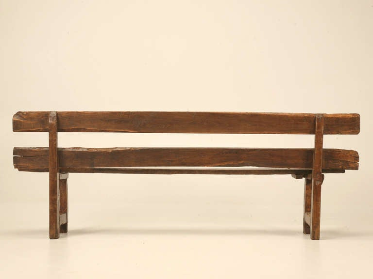 Antique French White Oak Rustic And Primitive Dining Bench