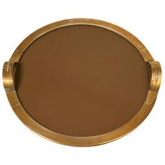 French Mid-Century Modern Brass Tray in a Hermes Style